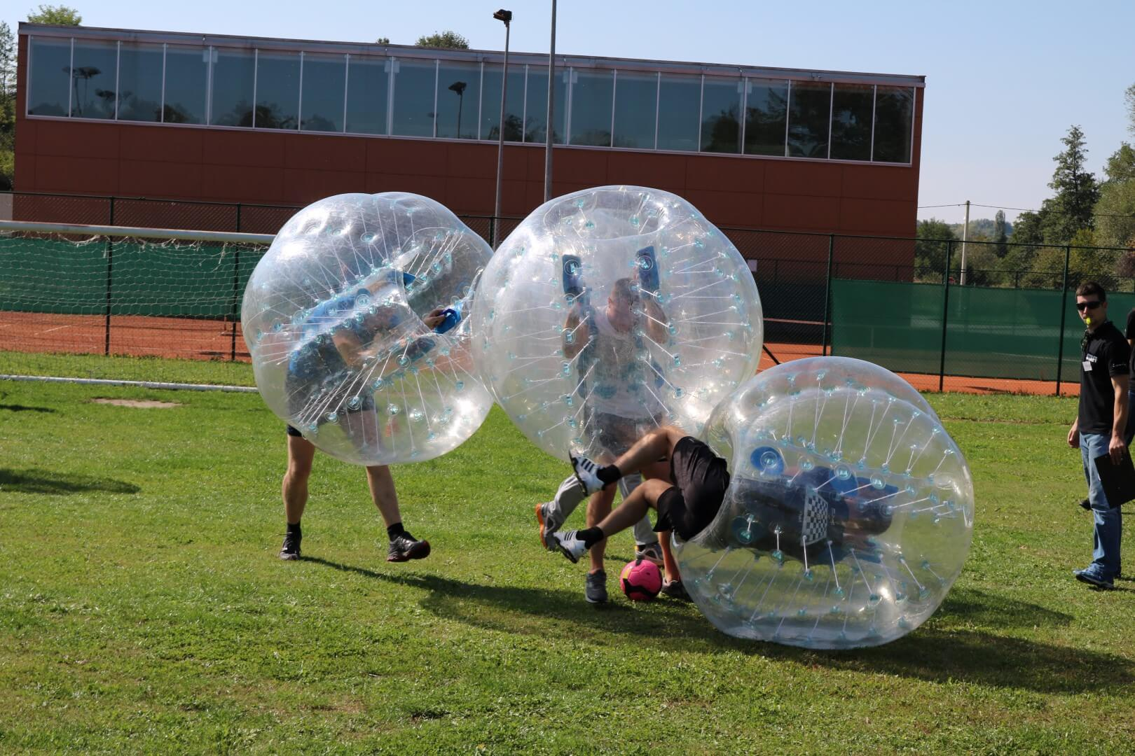 team building bubble football